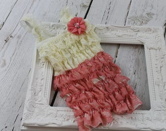 fbdf53eff437 Ivory Coral Lace Romper SMALL ONLY Coral Petti Romper Ivory Coral Ruffle Romper  Newborn Lace Romper