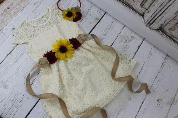 Rustic Flower Girl Dress Burgundy Sunflower Flower Girl Dress Ivory Flower Girl Dress Burgundy Burlap Sash Ivory Jr Bridesmaid Dress