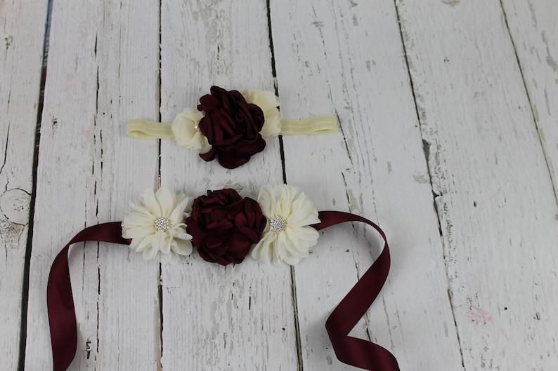 Rustic Flower Girl Dress Ivory Flower Girl Dress Burgundy Sash /& Headband Vintage Country Flower Girl