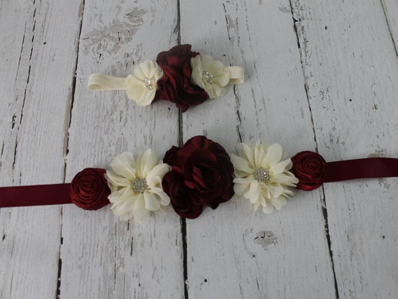 b6bb7b1f60 Burgundy Flower Girl Sash Burgundy Flower Headband Rustic