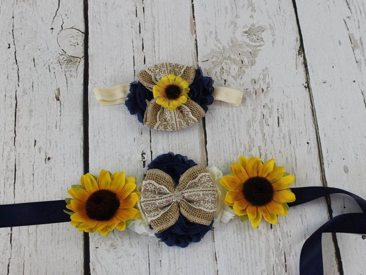 Sunflower Navy Sash   Sunflower Headband Flower Girl Dress  41e0759eae9