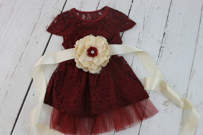 Rustic Flower Girl Dress Navy Lace Flower Girl Dress Burgundy Sash Country Wedding