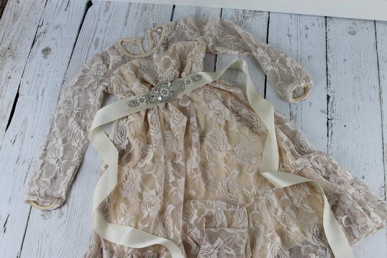 Champagne Flower Girl Dress Rustic Flower Girl Dress Girls Long Sleeve Dress Rhinestone Sash Country Lace Dress