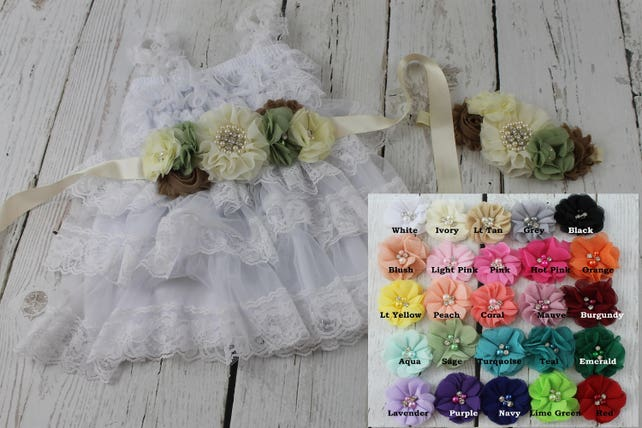 Flower Girl Dress White Flower Girl Dress Rustic Flower Girl Dress Sage Sash Headband Lace Country Flower Girl Jr Junior Bridesmaid Dress