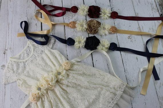 Ivory Flower Girl Dress Ivory Rustic Flower Girl Dress Ivory Jr Bridesmaid Dress Ivory Sash Ivory Headband & Lace Flower Girl Dress
