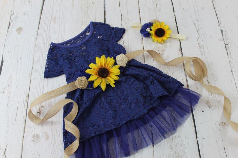 c600837f3 Navy Flower Girl Dress Sunflower Flower Girl Dress Navy Rustic | Etsy