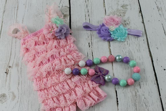 1st Birthday Outfit Pink Princess Birthday Pink Lace Romper  f2c0ef0dfe2f