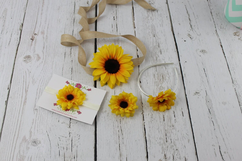 Sunflower Sash Sunflower Headband Flower Girl Dress Etsy
