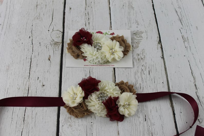 a312201efa Flower Girl Sash   Burgundy Headband Flower Girl Rustic Flower