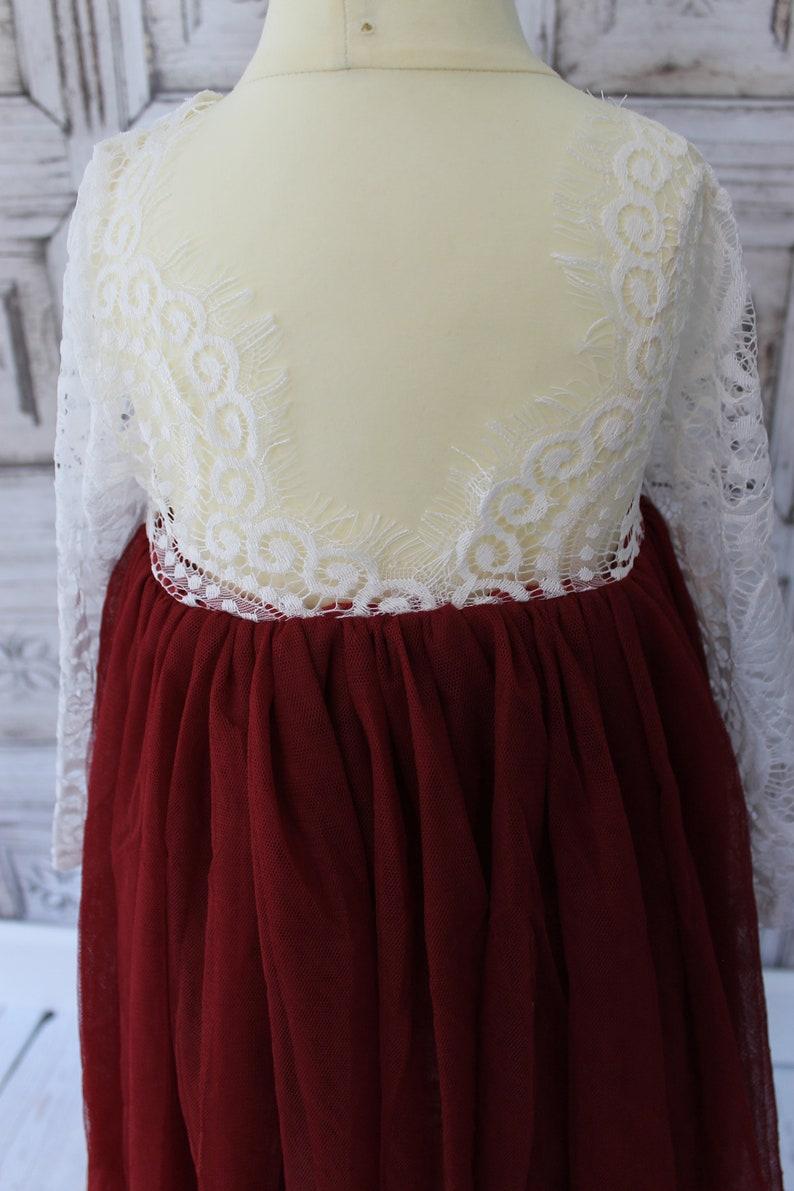 White Flower Girl Dress Red Sash White Tulle Flower Girl Dress Rustic Long Sleeve Dress