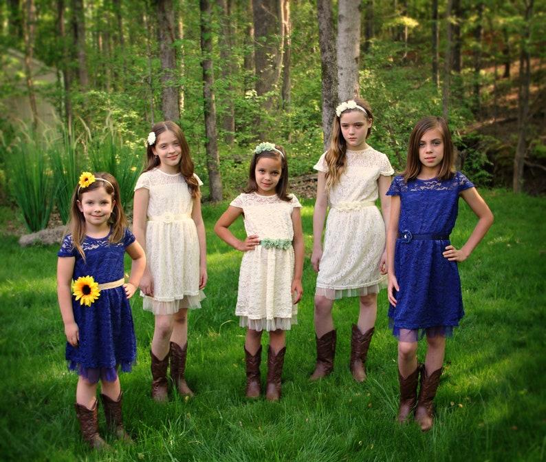 Burgundy Flower Girl Dress Rustic Flower Girl Dress Burgundy Sash /& Headband Lace Flower Girl Dress