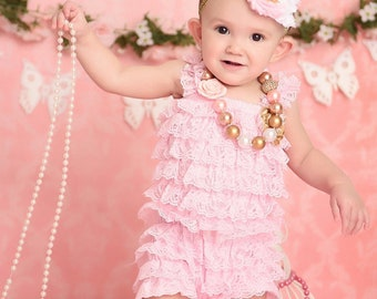 Pink Gold Lace Romper Outfit 1st Birthday Outfit Chunky Necklace Pink Gold Bow Headband Pink Romper Set Baby Girl Cake Smash Outfit