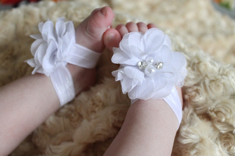 ccec9b88046e7 White Chiffon Flower Baby Girl Barefoot Sandals Soft Elastic Shoes Sandles  Newborn Infant Toddler Christening 1st Birthday Photo Prop