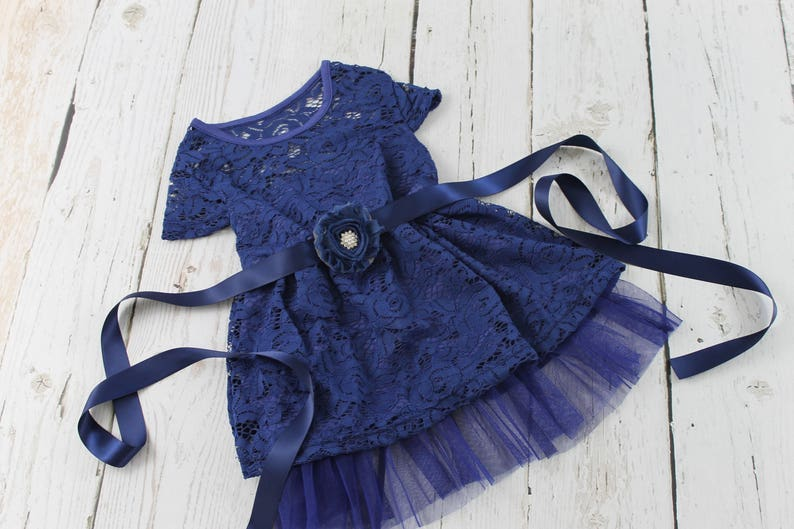 Flower Girl Dress Rustic Country Lace Flower Girl Dress Navy Ivory Coral Black White