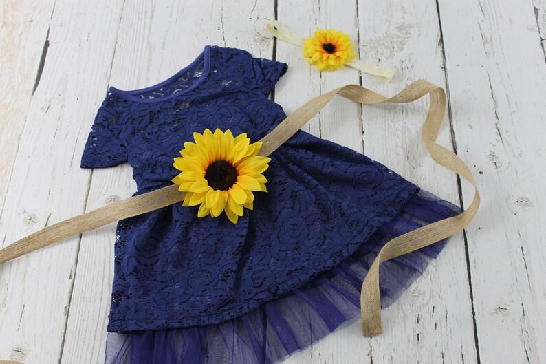 f2b322adf Navy Flower Girl Dress Sunflower Flower Girl Dress Rustic | Etsy