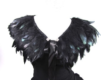 Black Feather Cape, Coque Feather Shawl, Rooster Feather Cape, Bridal Bolero, Evening Wrap