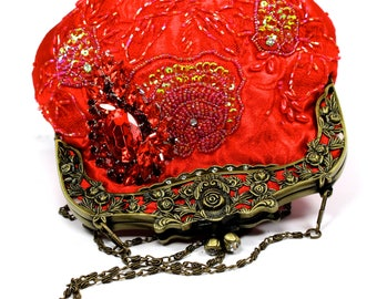 ON SALE Red Bridal Clutch, Red Satin Crystal Bridal Clutch, Red Wedding Purse, Bridesmaid Clutch, Red Satin Crystal Evening Bag
