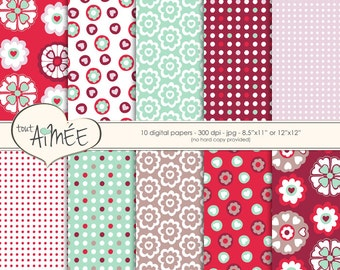 Folk Heart Digital Paper, Valentines Scrapbook, Polka Dot Background Patterns - Group 159