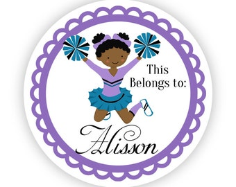 Name Tag Stickers - Purple and Teal Girl Cheerleader Personalized Name Label Tag Stickers - 2 inch Round Label Tags - Back to School Name