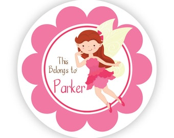 Kids Personalized Stickers - Pink Flower Fairy, Fun Little Girl Fairies, Rose Fairy Name Label Tag Stickers - Back to School Name Label Tags