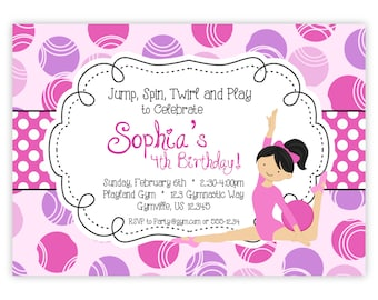 Gymnastic Invitation - Pink and Purple Circle Polka Dots, Adorable Girl Gymnast Personalized Birthday Party Invite - Digital Printable File