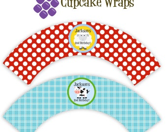 Farm Cupcake Wrapper - Red Polka Dot, Blue Plaid, Farm Animal Cow, Sheep Personalized Birthday Party Cupcake Wraps - Digital Printable File