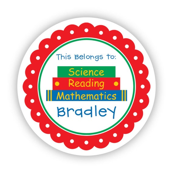 Notebook Stickers Kids School Stickers Emailed File or Shipped Stickers Personalized School Stickers Back to School Stickers