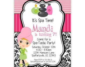 Spa Party Invitation - Hot Pink Stripes and Black Damask, Little Spa Girl Personalized Birthday Party Invite - a Digital Printable File