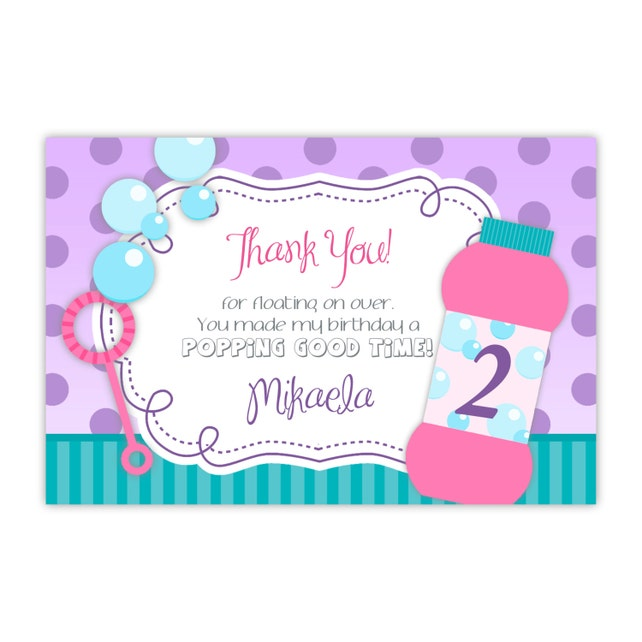 Bubble Party Thank You Card - Teal Stripe, Purple Polka Dot, Pink Bubbles Personalized Birthday Party Thank You - a Digital Printable File