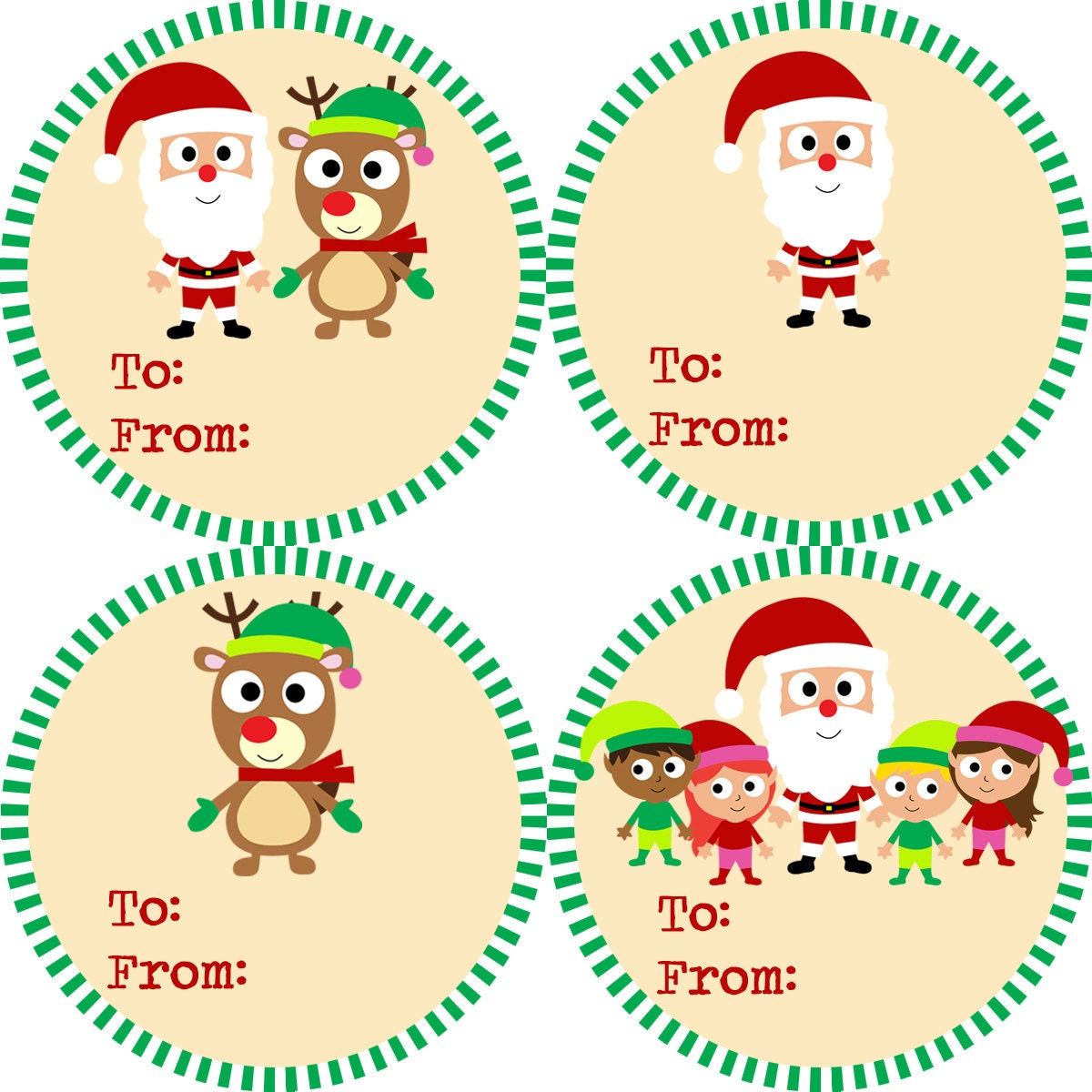 Christmas Gift Tag Stickers Green and Red Striped Santa | Etsy