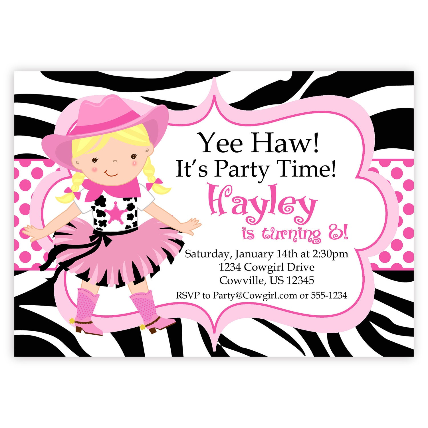 Cowgirl Birthday Invitation Hot Pink Zebra Print Polka Dot | Etsy