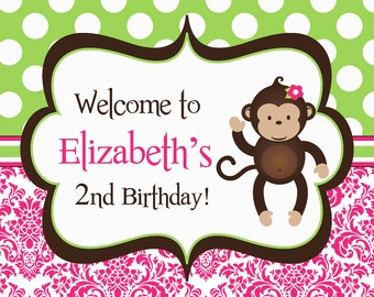 Mod Monkey Party Sign - Pink Damask and Green Polka Dots Girl Mod Monkey Personalized Birthday Party Welcome Sign - a Digital Printable File