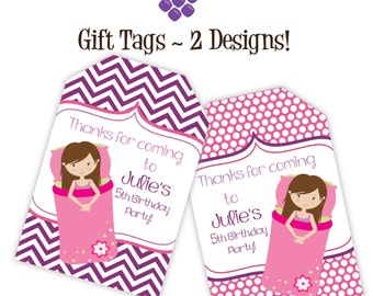 Slumber Party Gift Tags - Purple Chevron, Pink Polka Dots, Girl Sleepover Personalized Birthday Party Gift Tags - A Digital Printable File