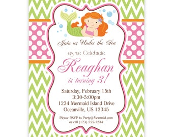 Mermaid Invitation - Green Chevron, Pink Polka Dots, Cute Little Girl Mermaid Personalized Birthday Party Invite - a Digital Printable File