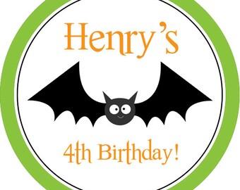 Halloween Stickers - Green Orange Circle with Friendly Halloween Black Bat Personalized Birthday Party Stickers - Round Sticker Labels
