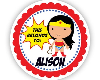 Personalized Name Tag Stickers - Red Blue Polka Dot, Cute Girl Superhero Name Label Stickers - This Belongs to - Back to School Name Labels