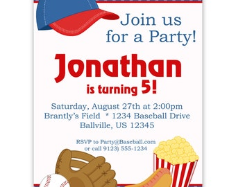 Baseball Invitation - Blue Polka Dot Baseball Ball, Glove and Hat Personalized Birthday Party Invite - a Digital Printable File