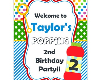 Bubble Party Sign - Rainbow Colors Polka Dots, Blue Stripes, Red Bubbles Personalized Birthday Party Welcome Sign - a Digital Printable File