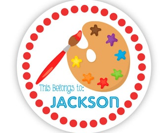 Personalized Kids Art Stickers - Red Paint Brush Art, Painting Artist Name Tag, Girl Artist Name Label Stickers - Back to School Name Labels
