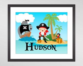 Pirate Printable Wall Art - Blue Turquoise Ocean, Pirate Ship, Parrot, Boy Pirate Personalized Nursery Print - Digital Printable Art Print