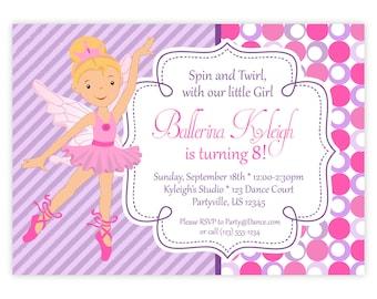 Ballerina Invitation - Purple Stripes, Pink Polka Dots, Little Girl Ballerina Personalized Birthday Party Invite - a Digital Printable File