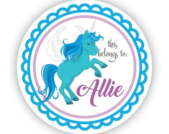 Name Label Stickers - Turquoise Unicorn, Blue Unicorn Personalized Name Tag Sticker, This Belongs To Labels - Back to School Name Labels