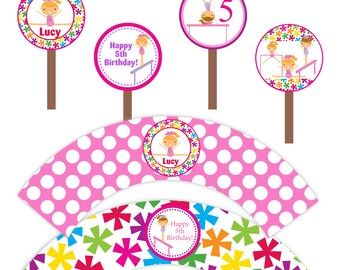Gymnastic Cupcake Party Set - Pink, Blue Yellow Girl Gymnast Personalized Birthday Cupcake Wrapper and Toppers - A Digital Printable File