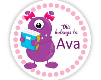 Name Tag Stickers - Purple Monster Books, Pink Polka Dot, School Monster Personalized Name Label Tag Stickers - Back to School Name Labels