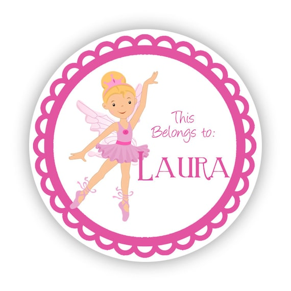name tag stickers cute pink ballerina girls ballet etsy