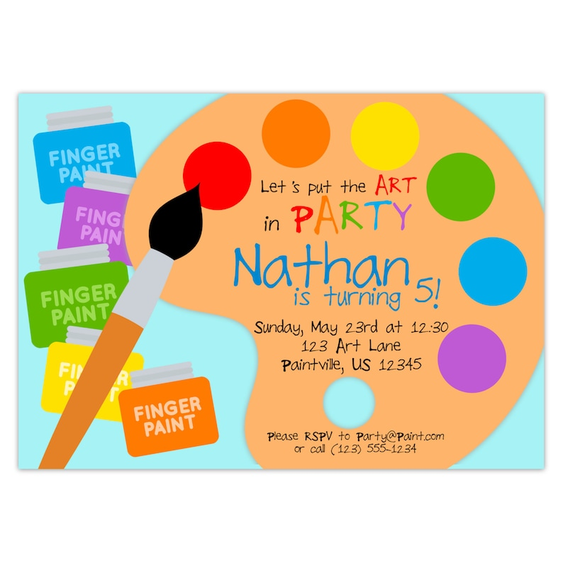 Art Party Invitation Rainbow Paint Pallet Little Artist Etsy