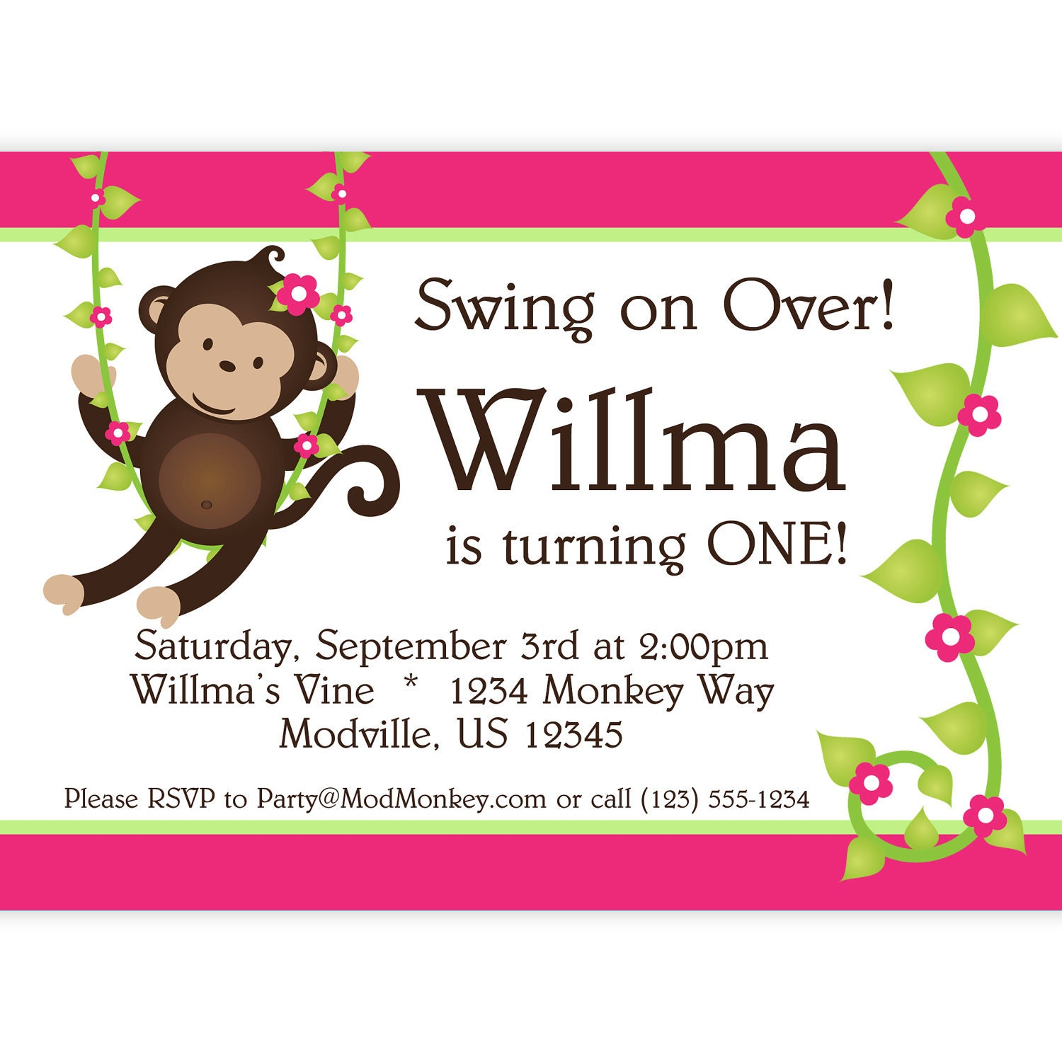 Mod Monkey Invitation Pink and Green Stripes and Flower Vine | Etsy