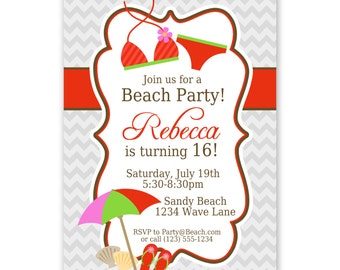 Beach Invitation- Elegant Gray Chevron with Red Stripe, Bikini Beach Personalized Birthday Party Invite - a Digital Printable File