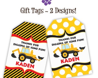 Construction Truck Gift Tags - Black Yellow Stripes and Polka Dot, Dump Truck Personalized Birthday Party Gift Tags - Digital Printable File