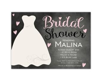 Bridal Shower Invitation - Pink Chalkboard Invitation, Wedding Gown Bridal Shower Personalized Shower Party Invite - Digital Printable File